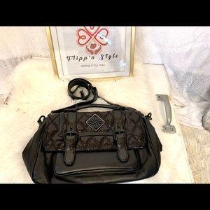 Vera Wang Black Leather Embossed Purse